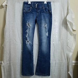 Juniors Amethyst Jean's Size 7 Factory Holes